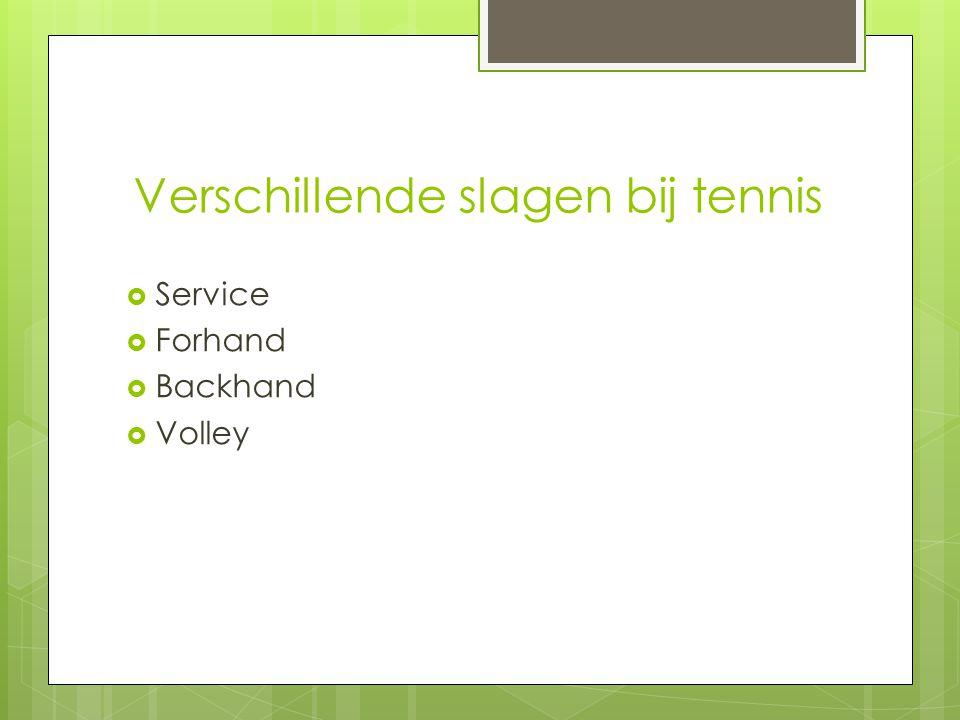 Verschillende slagen bij tennis  Service  Forhand  Backhand  Volley