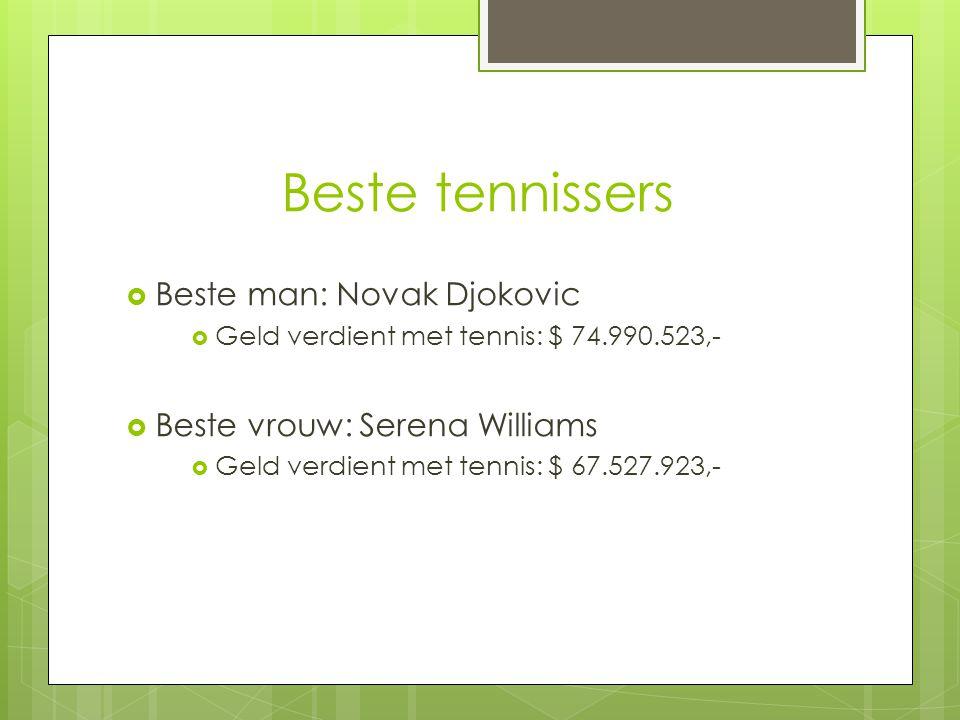 Beste tennissers  Beste man: Novak Djokovic  Geld verdient met tennis: $ 74.990.523,-  Beste vrouw: Serena Williams  Geld verdient met tennis: $ 6