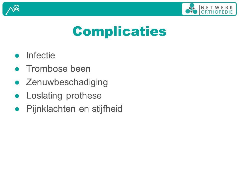 Complicaties ● Infectie ● Trombose been ● Zenuwbeschadiging ● Loslating prothese ● Pijnklachten en stijfheid