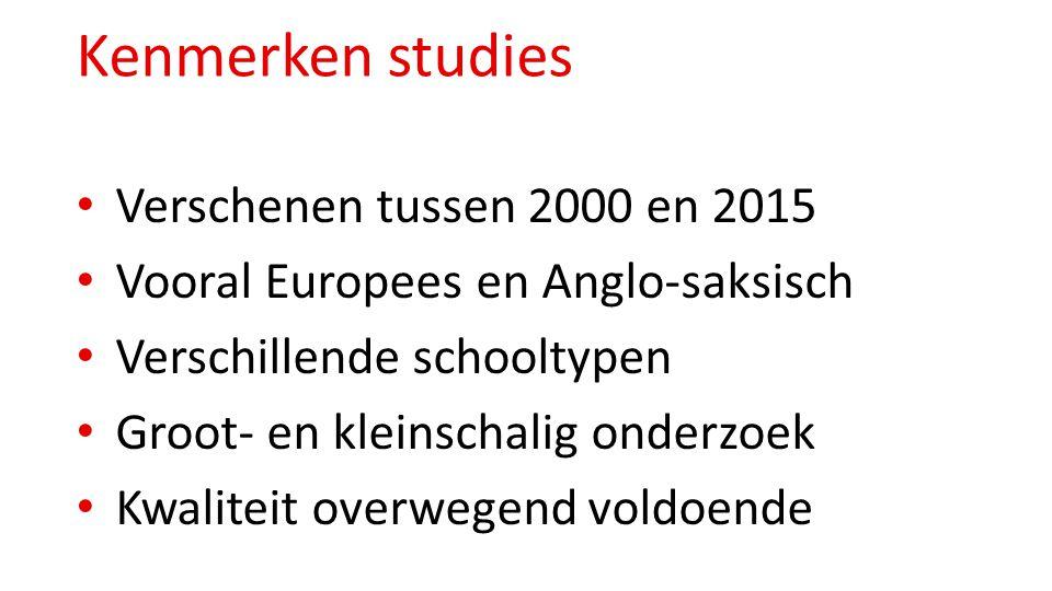 Kenmerken studies Verschenen tussen 2000 en 2015 Vooral Europees en Anglo-saksisch Verschillende schooltypen Groot- en kleinschalig onderzoek Kwalitei