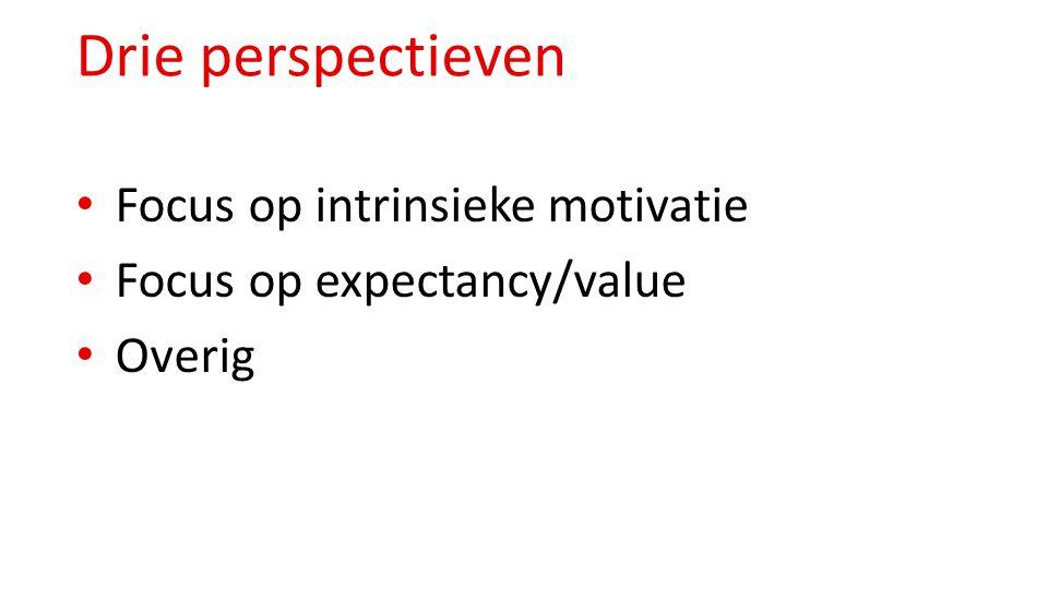 Drie perspectieven Focus op intrinsieke motivatie Focus op expectancy/value Overig