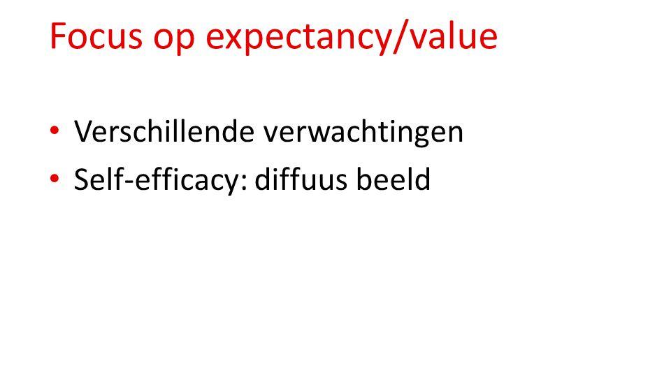 Focus op expectancy/value Verschillende verwachtingen Self-efficacy: diffuus beeld
