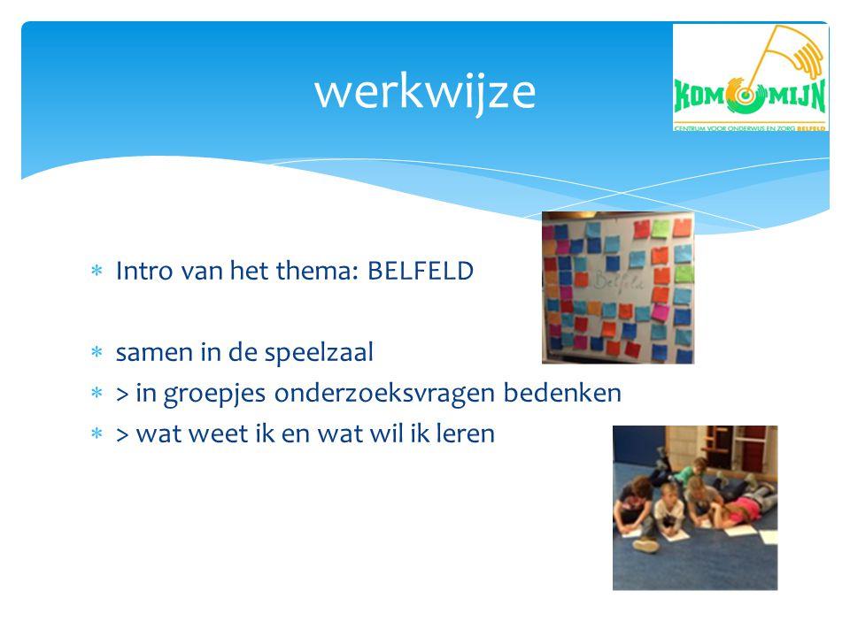  Intro van het thema: BELFELD  samen in de speelzaal  > in groepjes onderzoeksvragen bedenken  > wat weet ik en wat wil ik leren werkwijze