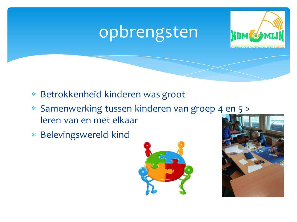  Betrokkenheid kinderen was groot  Samenwerking tussen kinderen van groep 4 en 5 > leren van en met elkaar  Belevingswereld kind opbrengsten