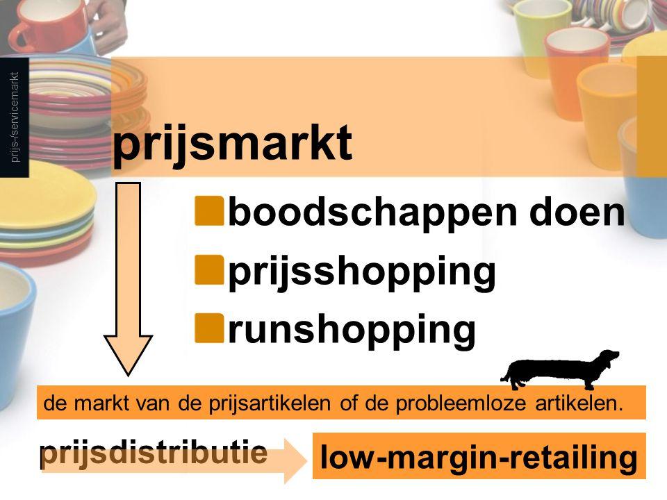 prijsmarkt boodschappen doen prijsshopping runshopping prijs-/servicemarkt de markt van de prijsartikelen of de probleemloze artikelen.