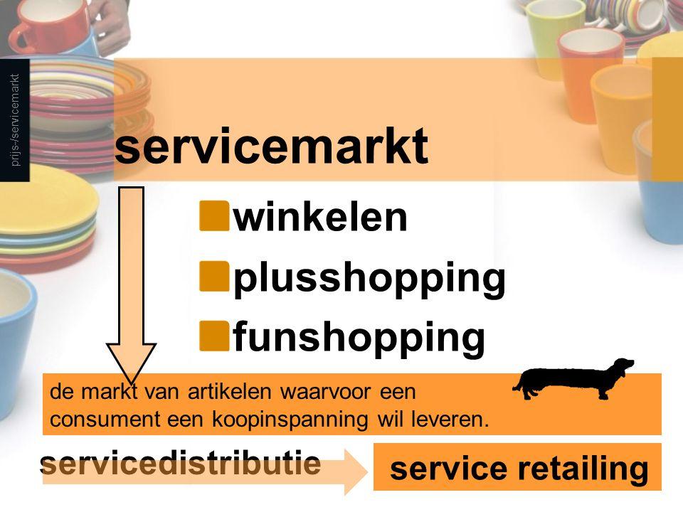 ontstaan servicemarkt recreatief winkelen bulkshopping one-stop-shopping prijs-/servicemarkt