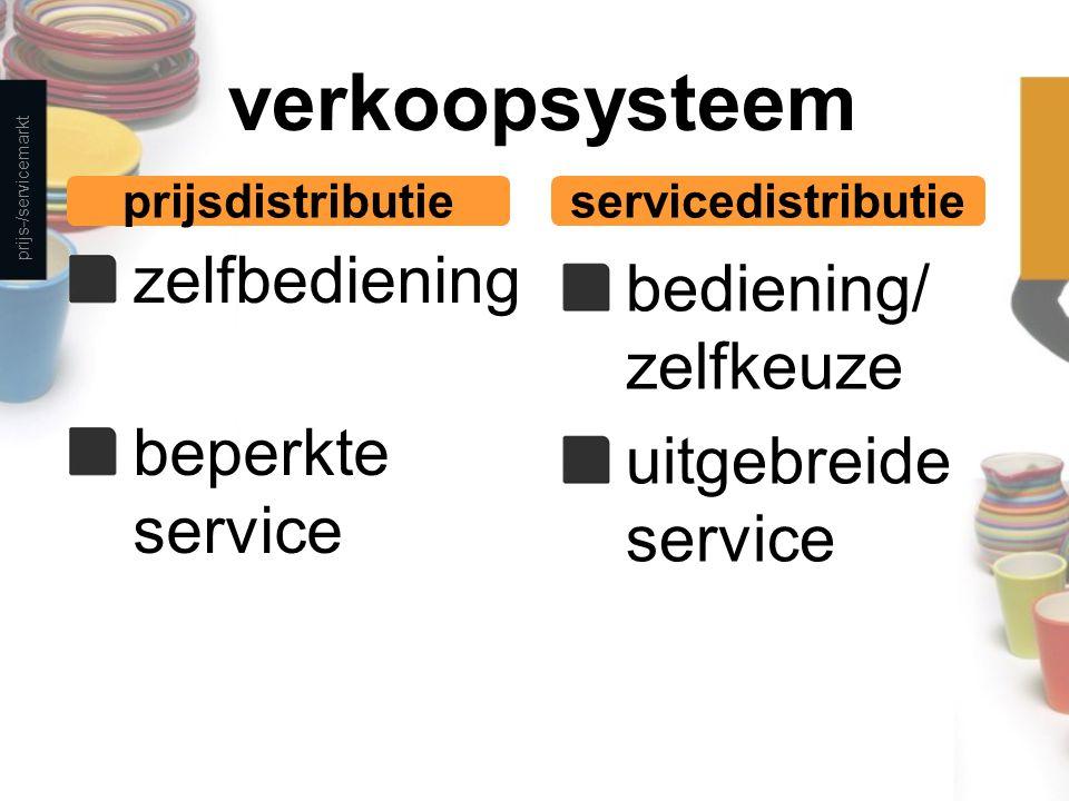 verkoopsysteem zelfbediening beperkte service bediening/ zelfkeuze uitgebreide service prijs-/servicemarkt prijsdistributieservicedistributie