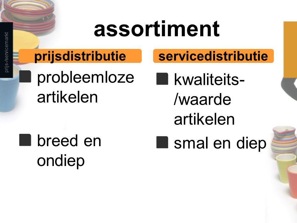 assortiment probleemloze artikelen breed en ondiep kwaliteits- /waarde artikelen smal en diep prijs-/servicemarkt prijsdistributieservicedistributie
