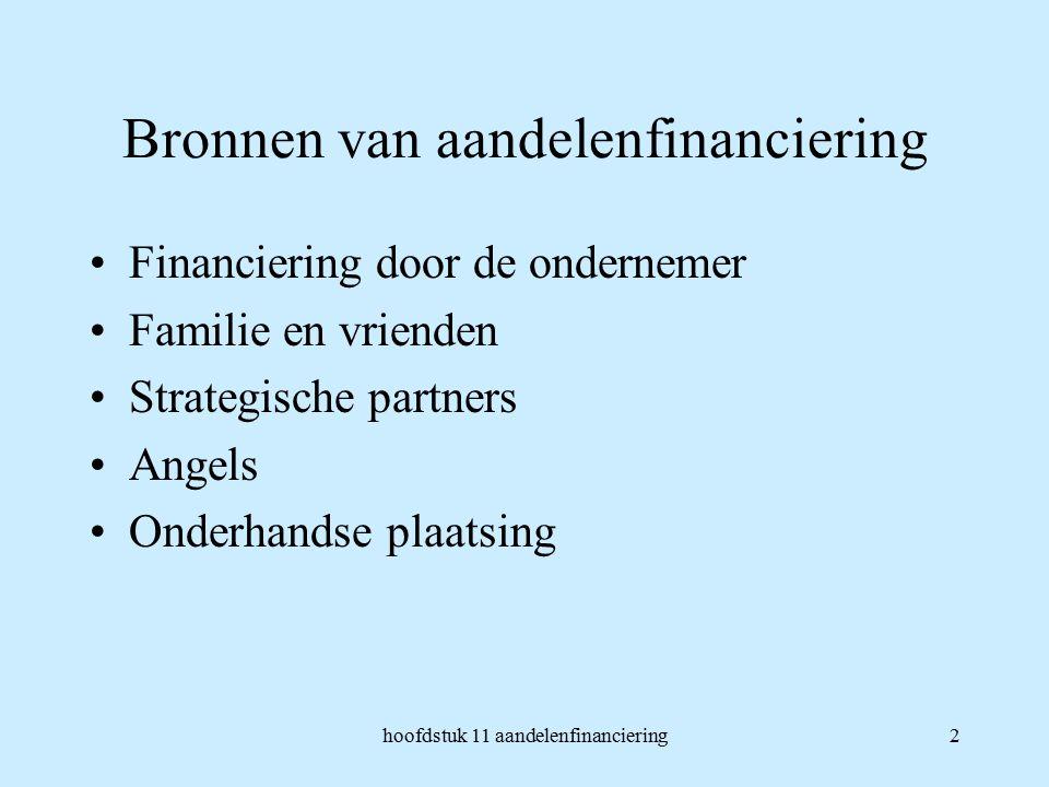 hoofdstuk 11 aandelenfinanciering2 Bronnen van aandelenfinanciering Financiering door de ondernemer Familie en vrienden Strategische partners Angels Onderhandse plaatsing