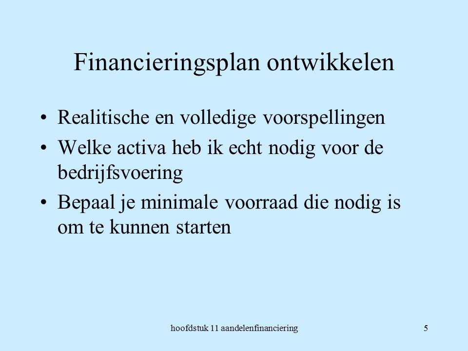 hoofdstuk 11 aandelenfinanciering5 Financieringsplan ontwikkelen Realitische en volledige voorspellingen Welke activa heb ik echt nodig voor de bedrijfsvoering Bepaal je minimale voorraad die nodig is om te kunnen starten