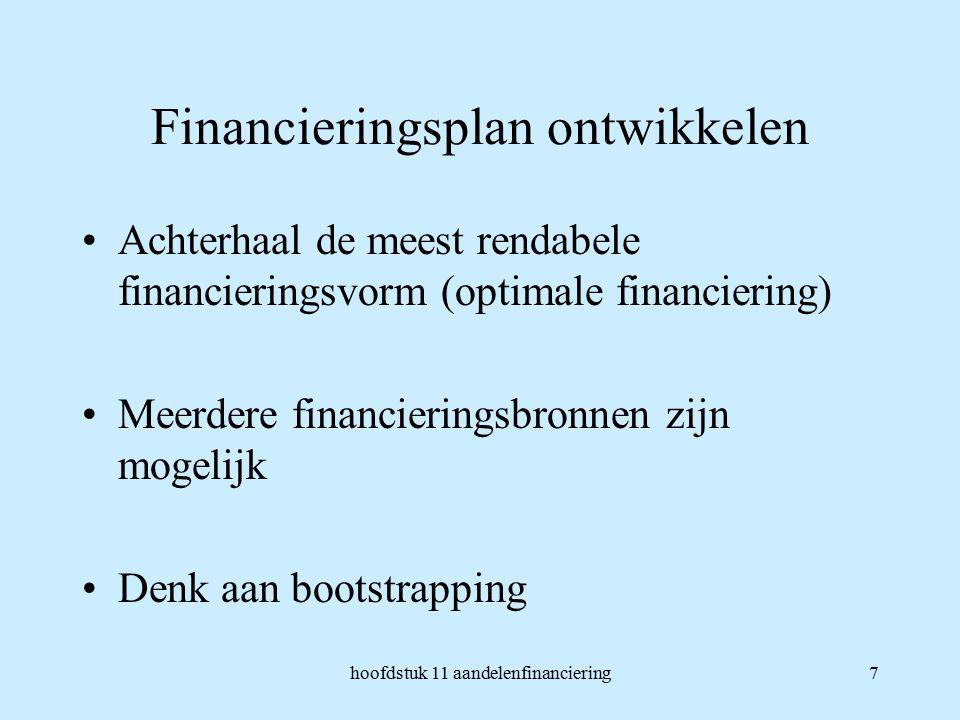 hoofdstuk 11 aandelenfinanciering7 Financieringsplan ontwikkelen Achterhaal de meest rendabele financieringsvorm (optimale financiering) Meerdere financieringsbronnen zijn mogelijk Denk aan bootstrapping