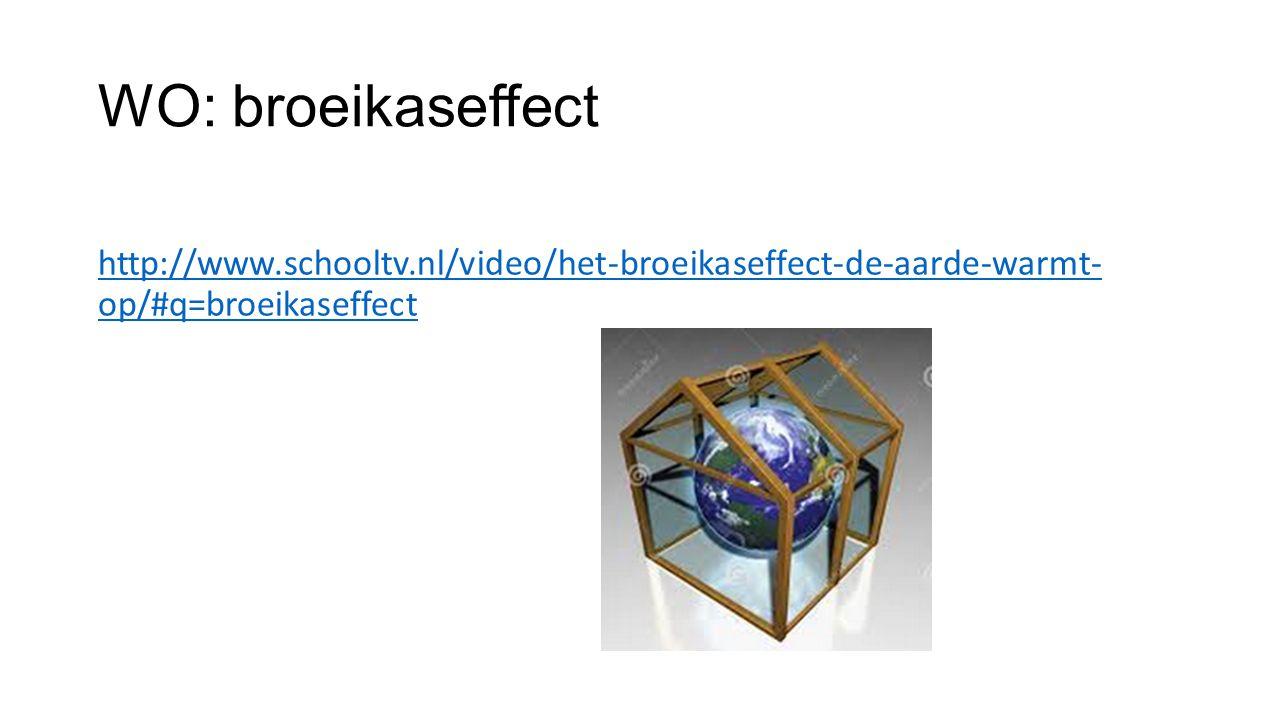 WO: broeikaseffect http://www.schooltv.nl/video/het-broeikaseffect-de-aarde-warmt- op/#q=broeikaseffect