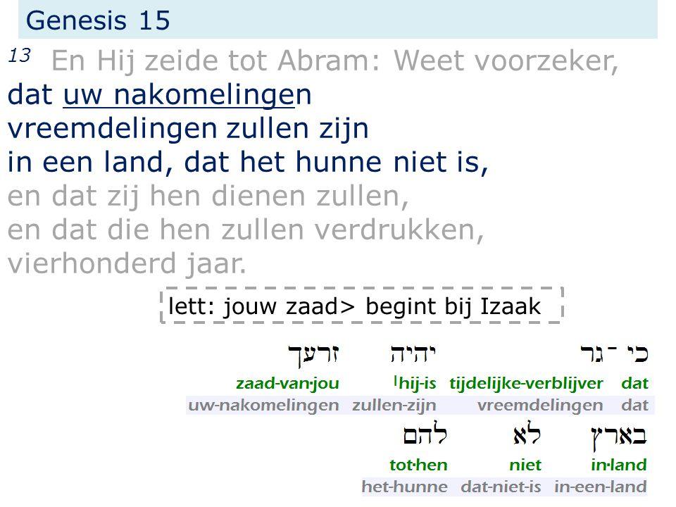 Genesis 15 13 En Hij zeide tot Abram: Weet voorzeker, dat uw nakomelingen vreemdelingen zullen zijn in een land, dat het hunne niet is, en dat zij hen
