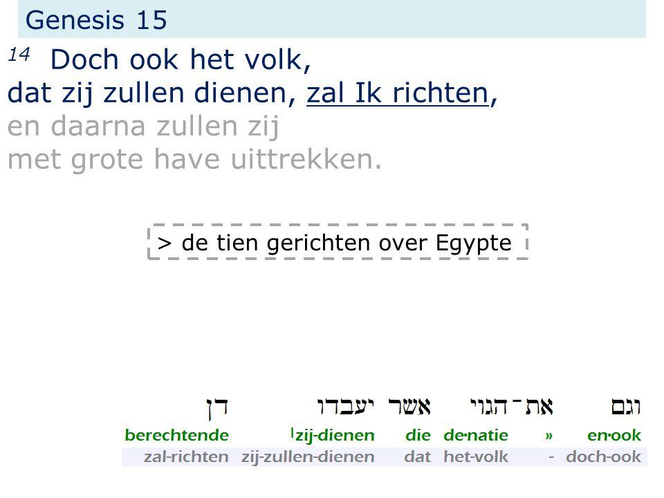 Genesis 15 14 Doch ook het volk, dat zij zullen dienen, zal Ik richten, en daarna zullen zij met grote have uittrekken. > de tien gerichten over Egypt
