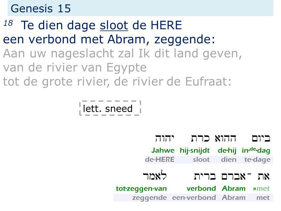 Genesis 15 18 Te dien dage sloot de HERE een verbond met Abram, zeggende: Aan uw nageslacht zal Ik dit land geven, van de rivier van Egypte tot de gro