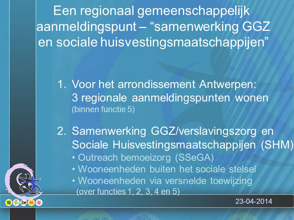 23-04-2014 Arrondissement Antwerpen 4 zorgregio's – 920.000 inwoners Antwerpen 515.000 inwoners Mortsel 96.000 inwoners Schilde/Brasschaat 310.000 inwoners