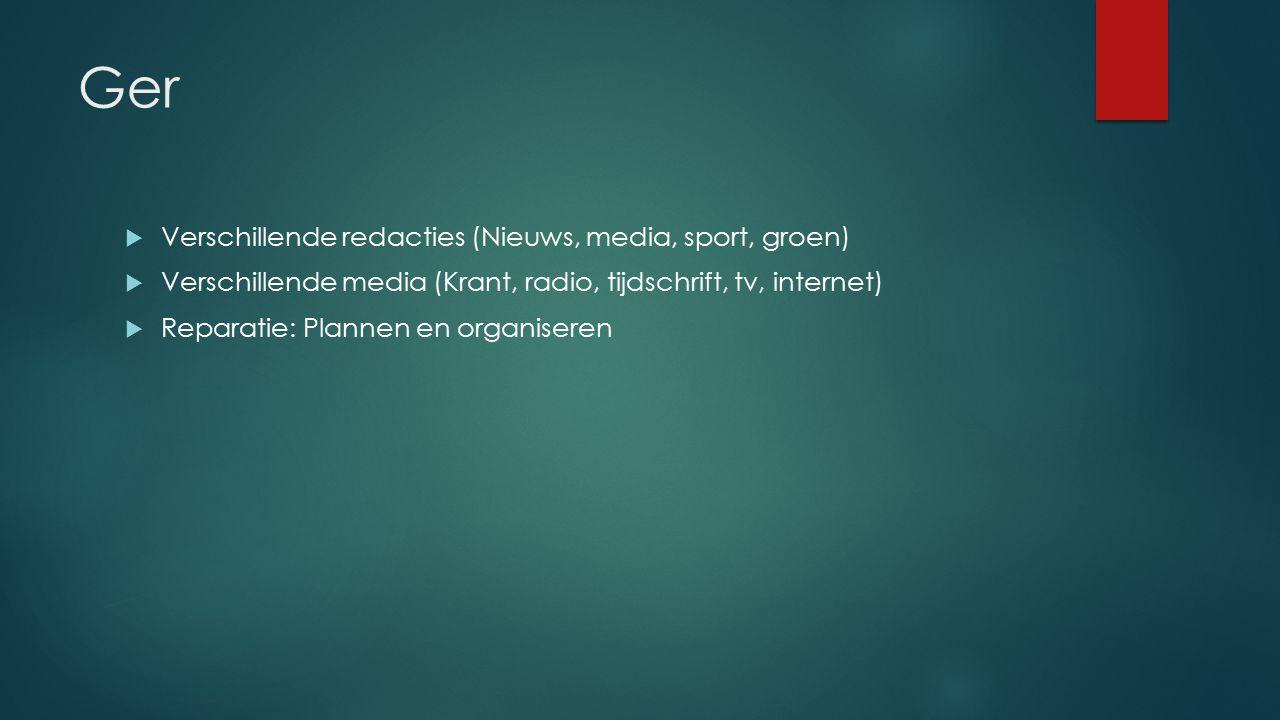 Ger  Verschillende redacties (Nieuws, media, sport, groen)  Verschillende media (Krant, radio, tijdschrift, tv, internet)  Reparatie: Plannen en organiseren