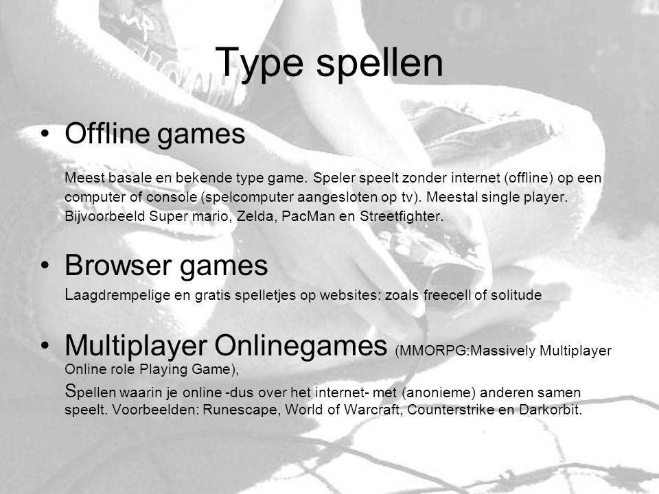 Tijdsbesteding per speltype Percentage gebruik Uren per week Online games34,5%11.9 Browsergames55,2%2,7 Offline games54,5%6,3