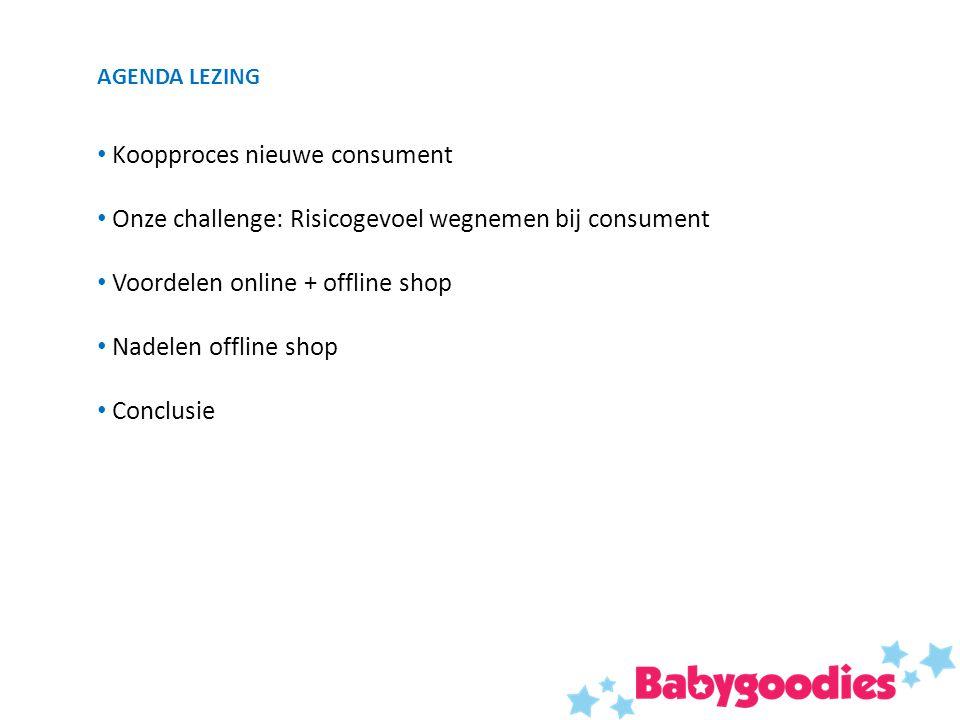 AGENDA LEZING Koopproces nieuwe consument Onze challenge: Risicogevoel wegnemen bij consument Voordelen online + offline shop Nadelen offline shop Conclusie
