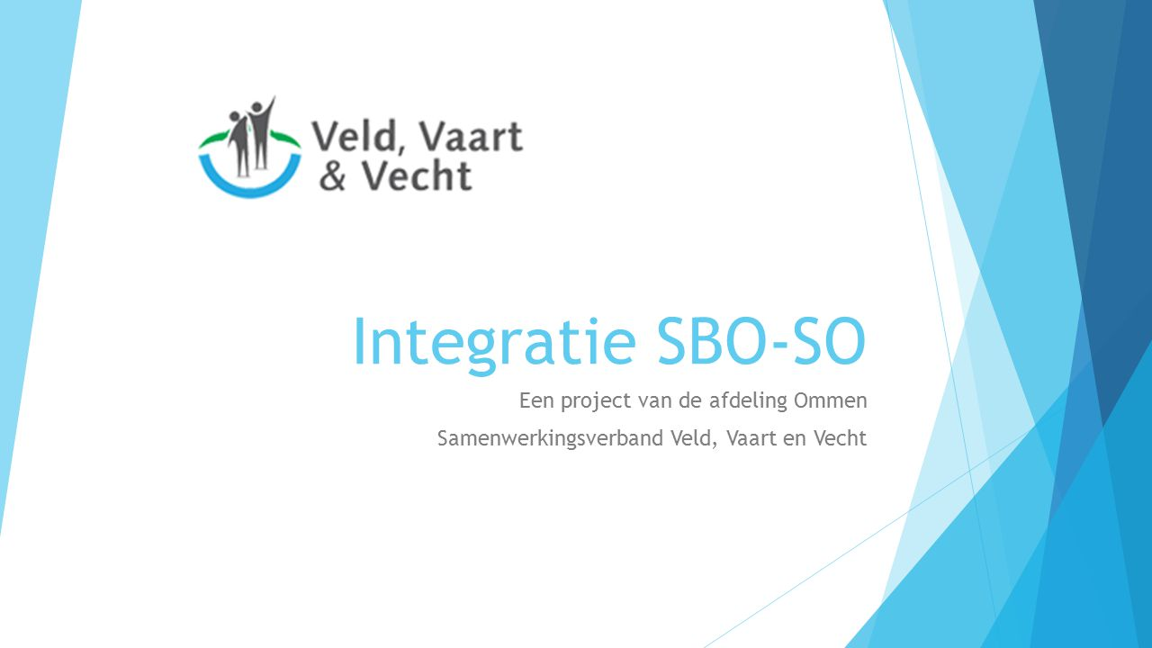 Integratie SBO-SO Een project van de afdeling Ommen Samenwerkingsverband Veld, Vaart en Vecht