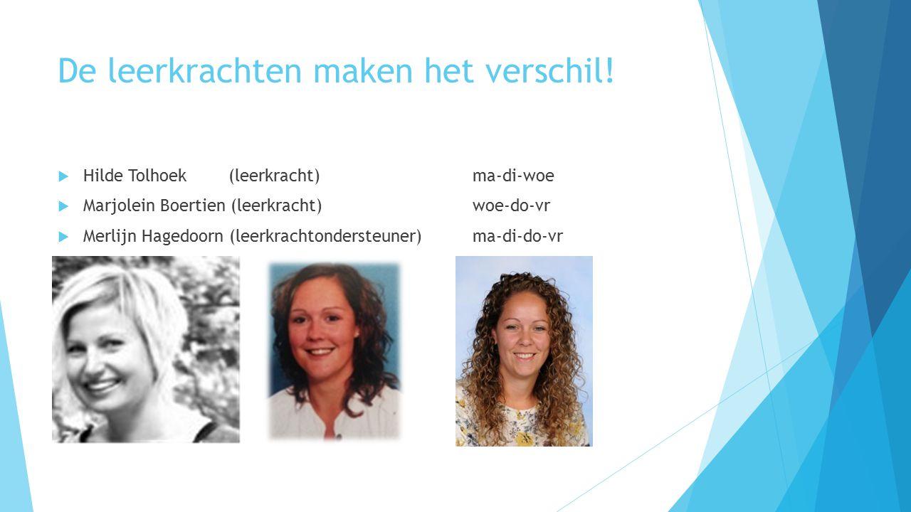 De leerkrachten maken het verschil!  Hilde Tolhoek (leerkracht) ma-di-woe  Marjolein Boertien (leerkracht) woe-do-vr  Merlijn Hagedoorn (leerkracht