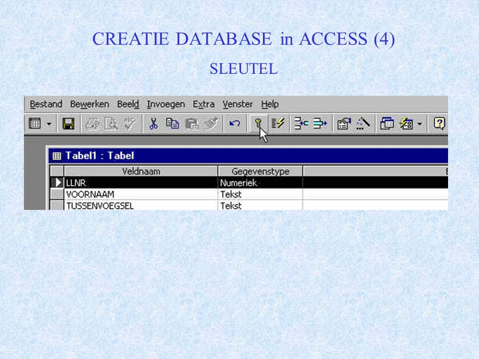CREATIE DATABASE in ACCESS (4) SLEUTEL