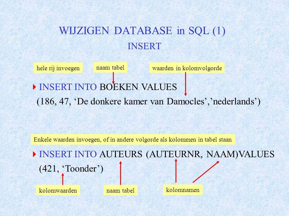 WIJZIGEN DATABASE in SQL (2) UPDATE  UPDATE AUTEURS SET VOORNAAM = 'MARTEN' GEB_JAAR = 1912 STERF_JAAR = NULL WHERE AUTEURNR = 421 naam te wijzigen tabel kolomnamenwaarden,values voorwaarde