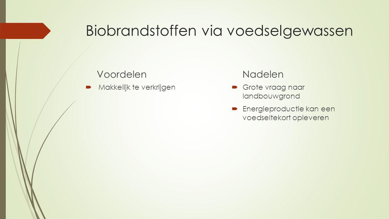 Biobrandstoffen via voedselgewassen Voordelen  Makkelijk te verkrijgen Nadelen  Grote vraag naar landbouwgrond  Energieproductie kan een voedseltekort opleveren