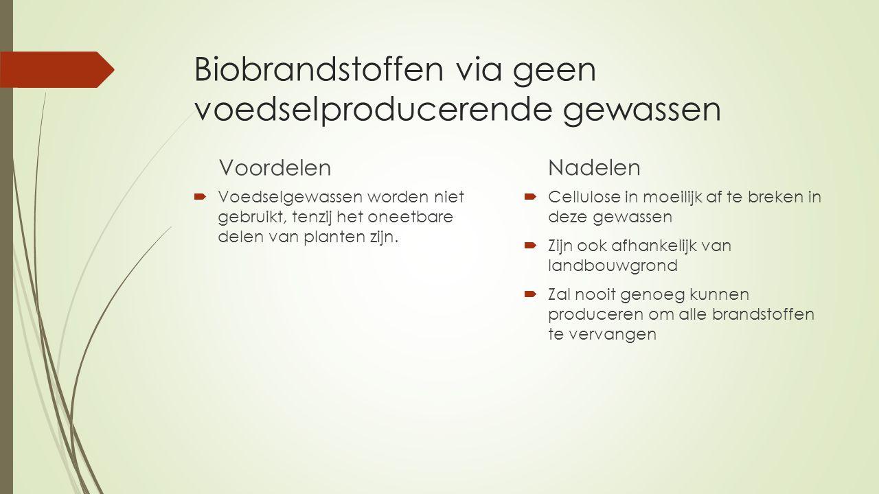 Biobrandstoffen via geen voedselproducerende gewassen Voordelen  Voedselgewassen worden niet gebruikt, tenzij het oneetbare delen van planten zijn.