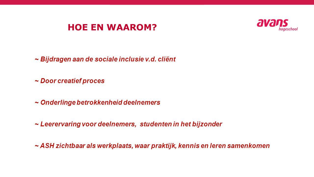HOE EN WAAROM. ~ Bijdragen aan de sociale inclusie v.d.