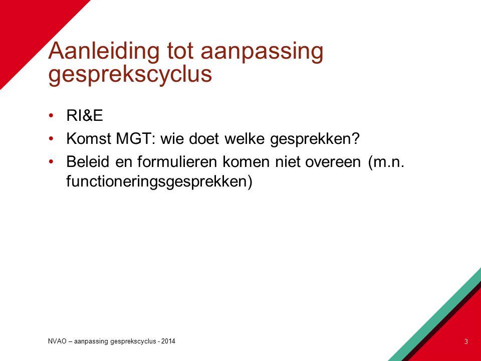 Aanleiding tot aanpassing gesprekscyclus RI&E Komst MGT: wie doet welke gesprekken.