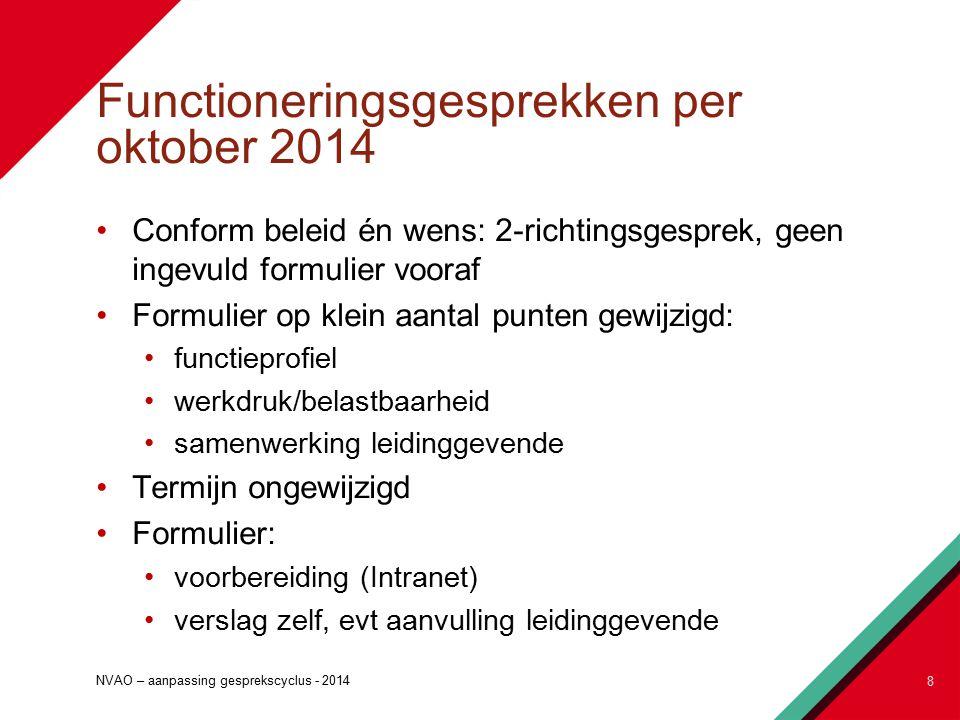 Functioneringsgesprekken per oktober 2014 Conform beleid én wens: 2-richtingsgesprek, geen ingevuld formulier vooraf Formulier op klein aantal punten