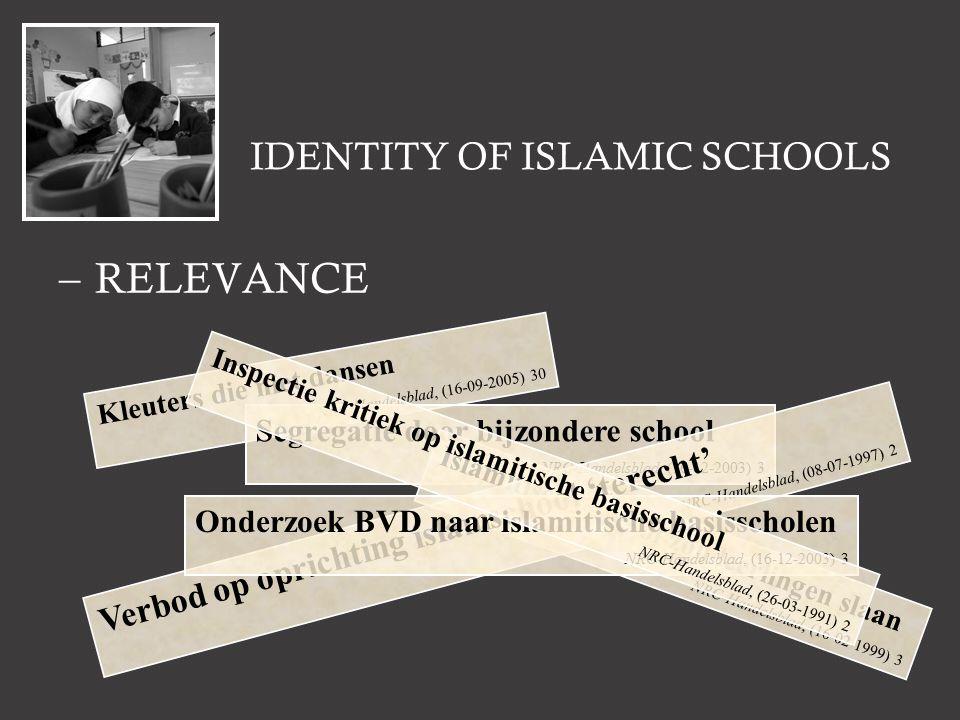 IDENTITY OF ISLAMIC SCHOOLS –RELEVANCE Kleuters die niet dansen NRC-Handelsblad, (16-09-2005) 30 Segregatie door bijzondere school NRC-Handelsblad, (16-12-2003) 3 Islamitische school zou leerlingen slaan NRC-Handelsblad, (16-02-1999) 3 Verbod op oprichting islamschool 'terecht' NRC-Handelsblad, (08-07-1997) 2 Onderzoek BVD naar islamitische basisscholen NRC-Handelsblad, (16-12-2003) 3 Inspectie kritiek op islamitische basisschool NRC-Handelsblad, (26-03-1991) 2