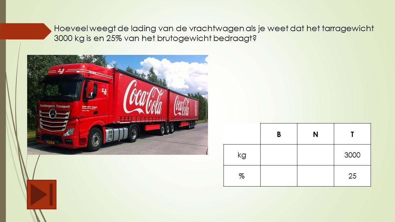 Hoeveel weegt de lading van de vrachtwagen als je weet dat het tarragewicht 3000 kg is en 25% van het brutogewicht bedraagt? BNT kg3000 %25