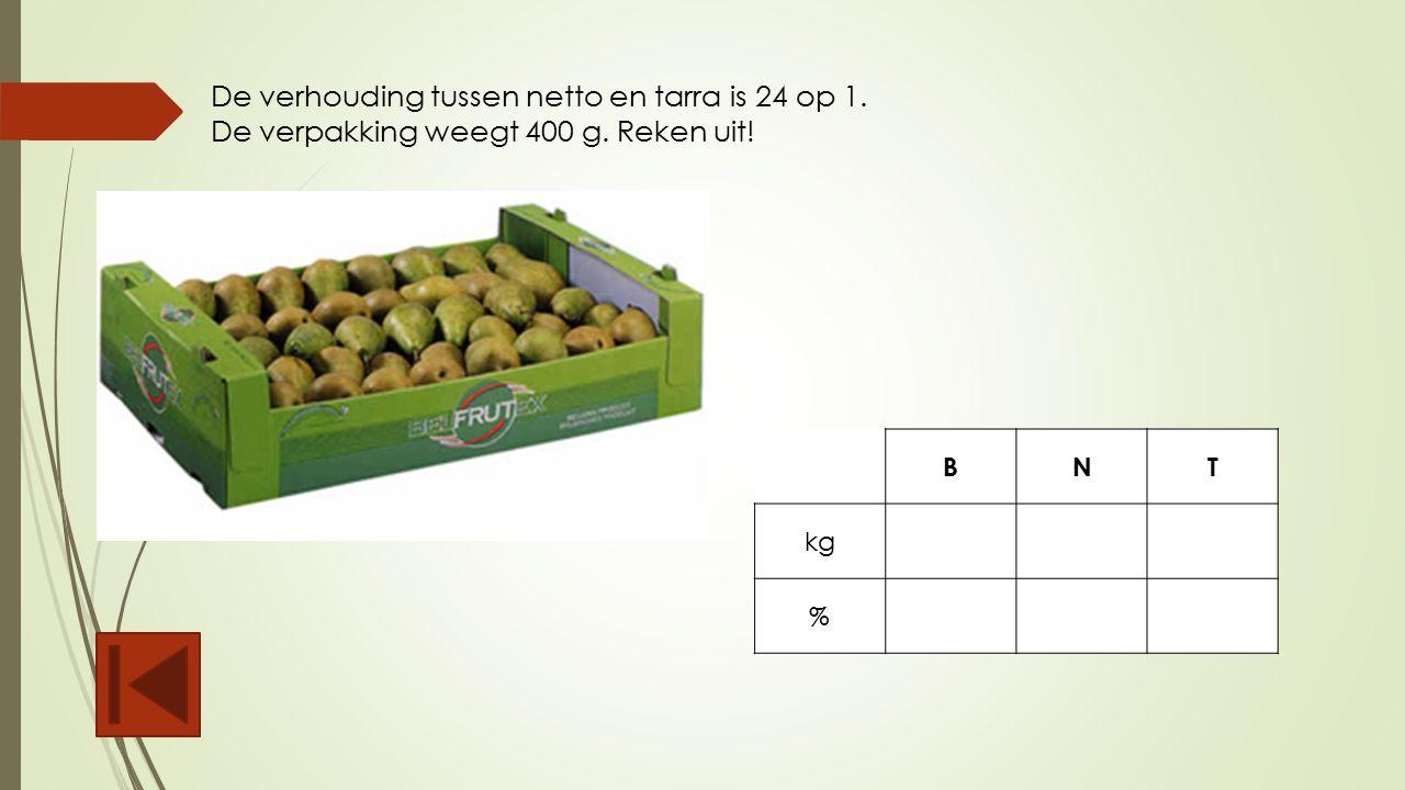 De verhouding tussen netto en tarra is 24 op 1. De verpakking weegt 400 g. Reken uit! BNT kg %