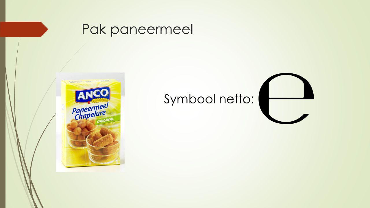 Pak paneermeel Symbool netto: