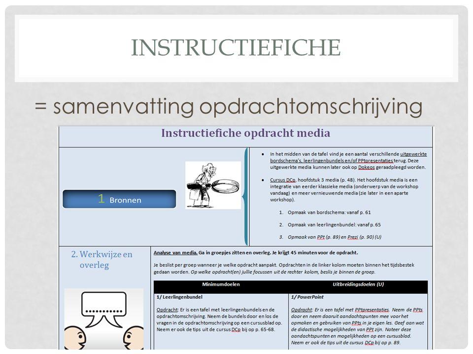 INSTRUCTIEFICHE = samenvatting opdrachtomschrijving