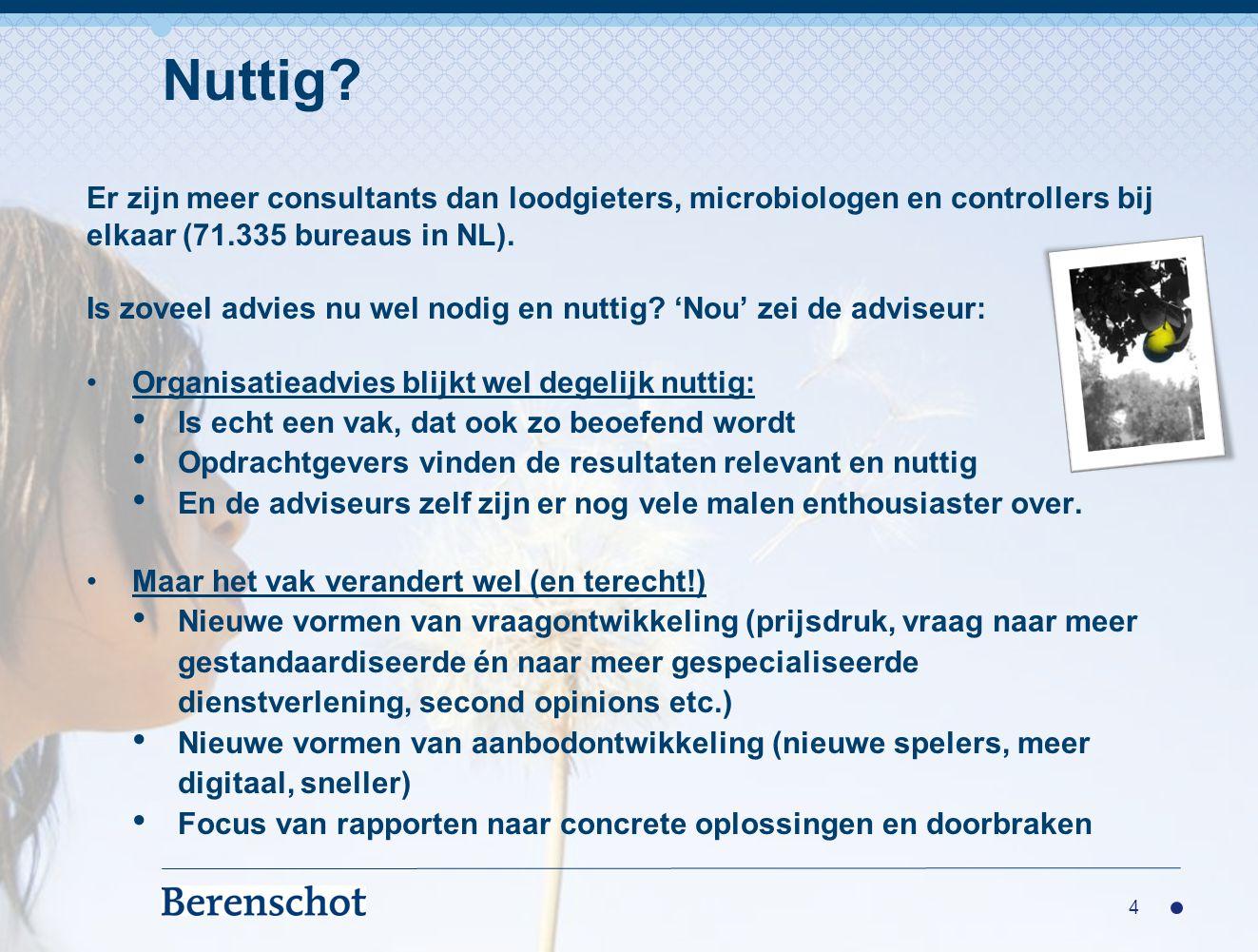 Er zijn meer consultants dan loodgieters, microbiologen en controllers bij elkaar (71.335 bureaus in NL).