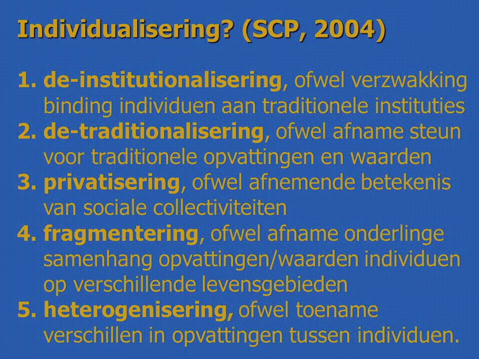 1. de-institutionalisering, ofwel verzwakking binding individuen aan traditionele instituties 2.