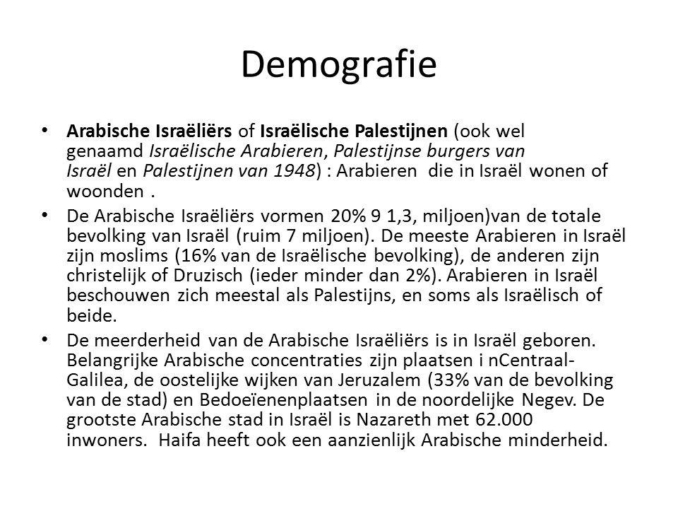 Demografie Arabische Israëliërs of Israëlische Palestijnen (ook wel genaamd Israëlische Arabieren, Palestijnse burgers van Israël en Palestijnen van 1