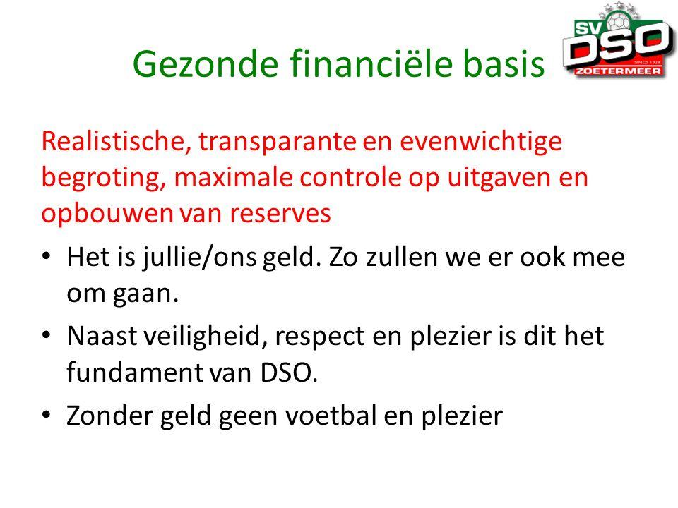 Gezonde financiële basis Realistische, transparante en evenwichtige begroting, maximale controle op uitgaven en opbouwen van reserves Het is jullie/ons geld.