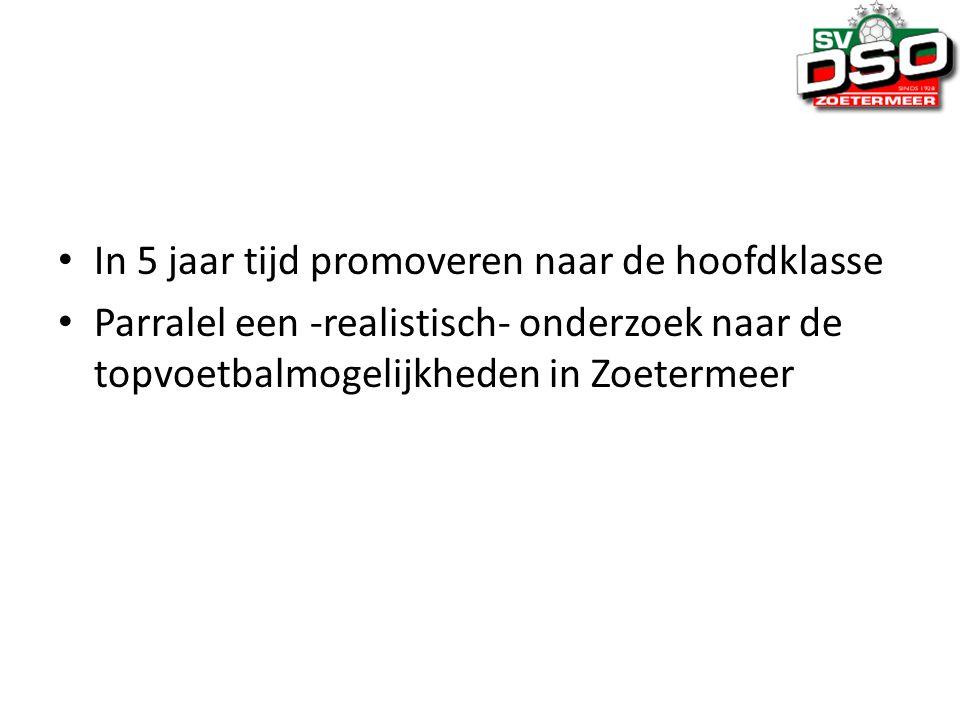 In 5 jaar tijd promoveren naar de hoofdklasse Parralel een -realistisch- onderzoek naar de topvoetbalmogelijkheden in Zoetermeer