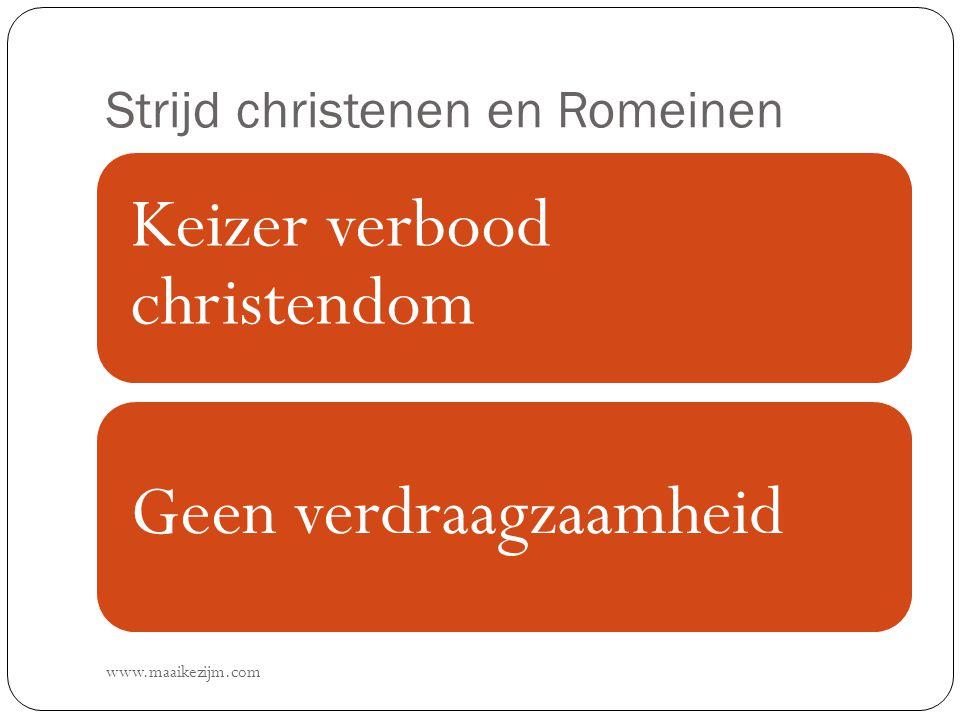 Strijd christenen en Romeinen www.maaikezijm.com Keizer verbood christendom Geen verdraagzaamheid