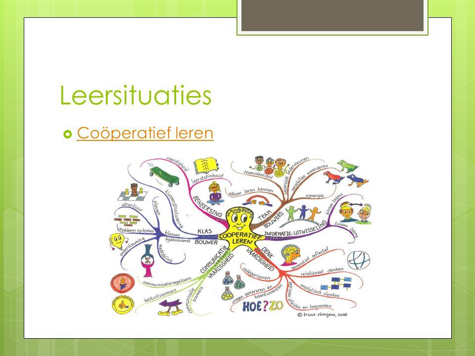 Leersituaties  Coöperatief leren Coöperatief leren