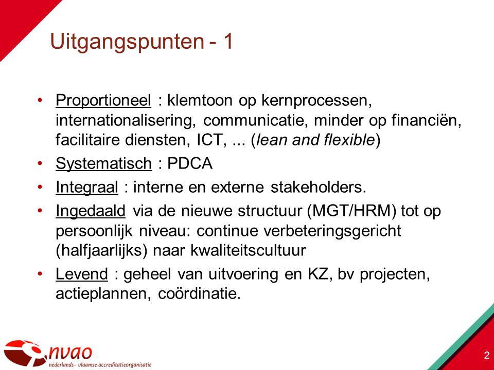 Proportioneel : klemtoon op kernprocessen, internationalisering, communicatie, minder op financiën, facilitaire diensten, ICT,...