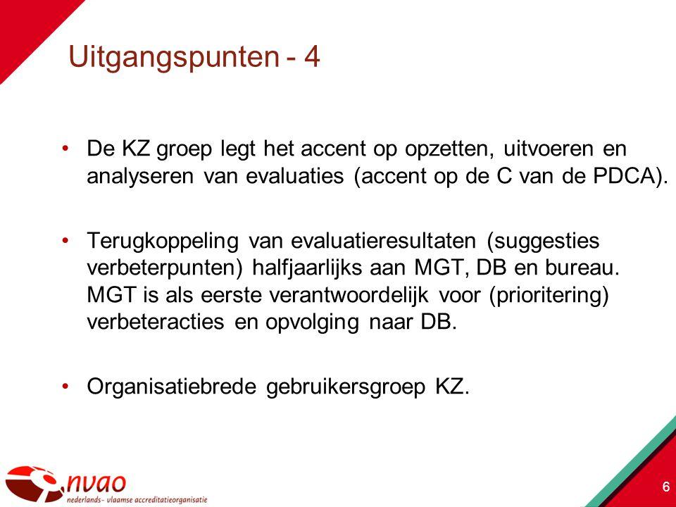 De KZ groep legt het accent op opzetten, uitvoeren en analyseren van evaluaties (accent op de C van de PDCA).