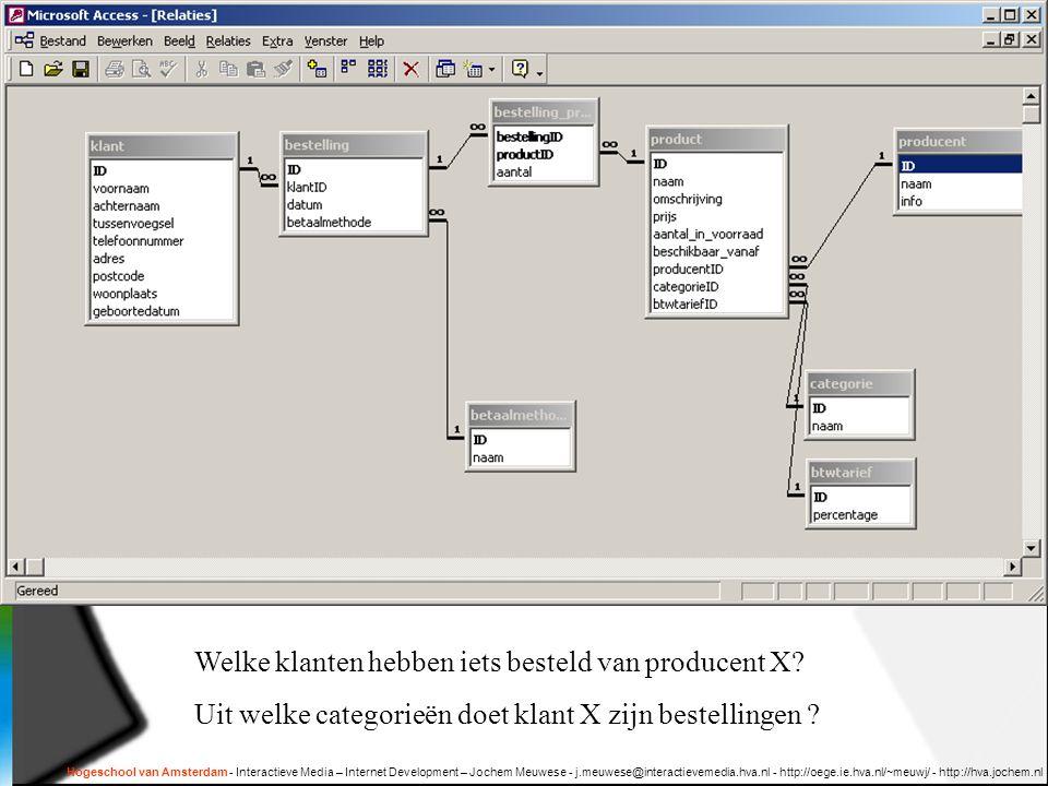 Hogeschool van Amsterdam - Interactieve Media – Internet Development – Jochem Meuwese - j.meuwese@interactievemedia.hva.nl - http://oege.ie.hva.nl/~meuwj/ - http://hva.jochem.nl Welke klanten hebben iets besteld van producent X.