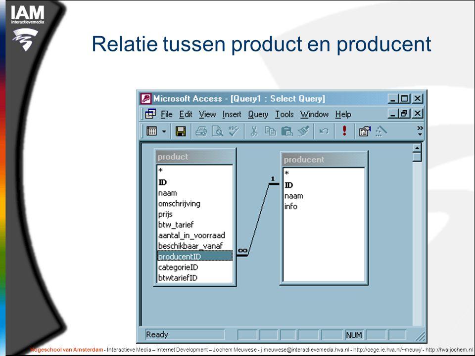 Hogeschool van Amsterdam - Interactieve Media – Internet Development – Jochem Meuwese - j.meuwese@interactievemedia.hva.nl - http://oege.ie.hva.nl/~meuwj/ - http://hva.jochem.nl SELECT uit twee gekoppelde tabellen  Selecteer alle producten en koppel daar aan de naam van de producent  SELECT product.*, producent.naam AS producentNaam FROM product LEFT JOIN producent ON product.producentID = producent.ID  IDnaam…producentIDproducentNaam 3tonijn6unilever 4kip6unilever 5step4joop's fiets …………