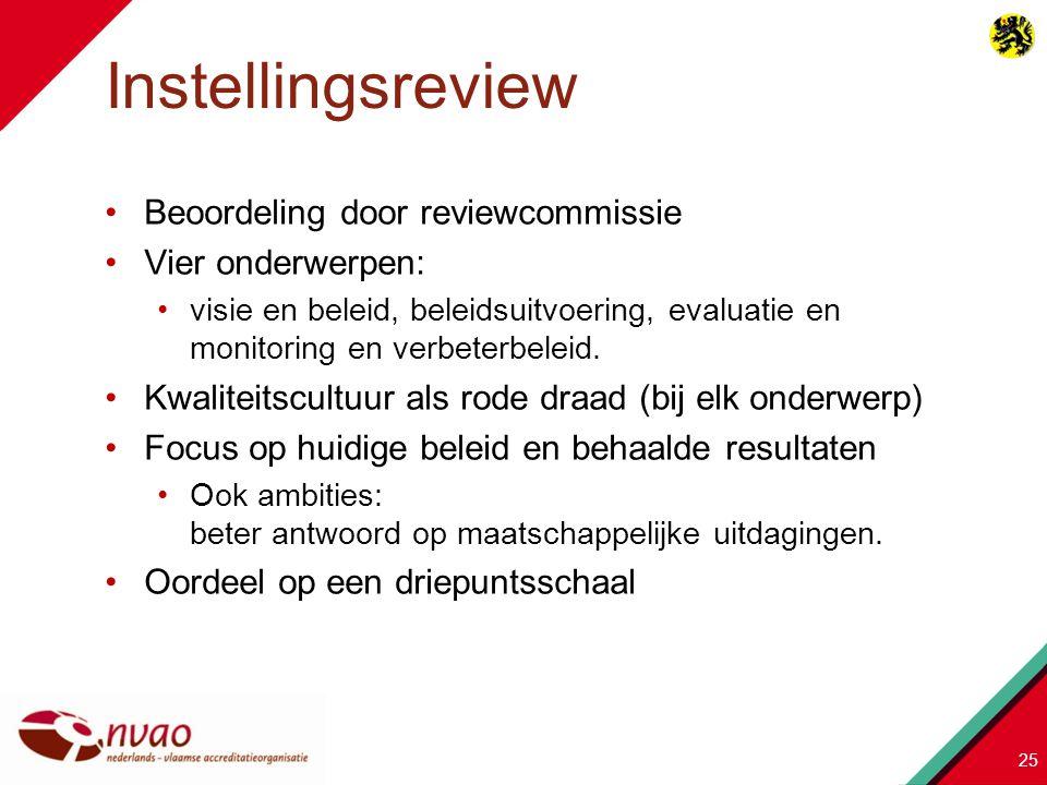 Beoordeling door reviewcommissie Vier onderwerpen: visie en beleid, beleidsuitvoering, evaluatie en monitoring en verbeterbeleid. Kwaliteitscultuur al