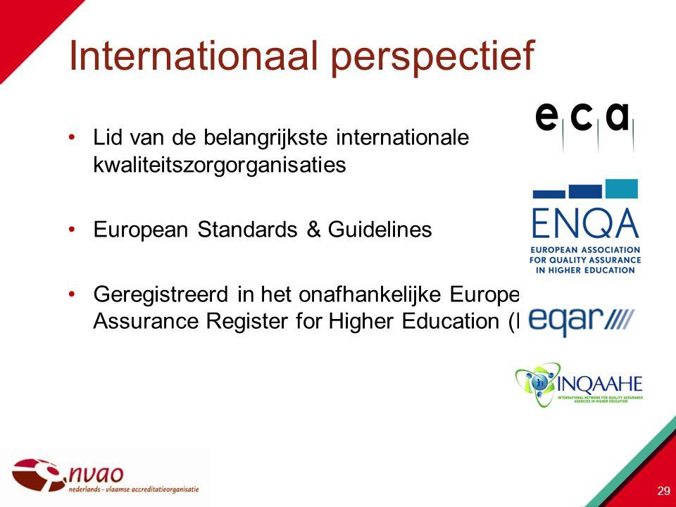 Lid van de belangrijkste internationale kwaliteitszorgorganisaties European Standards & Guidelines Geregistreerd in het onafhankelijke European Qualit